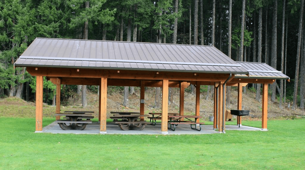 Photo of a picnic shelter as an example of a bookable park.