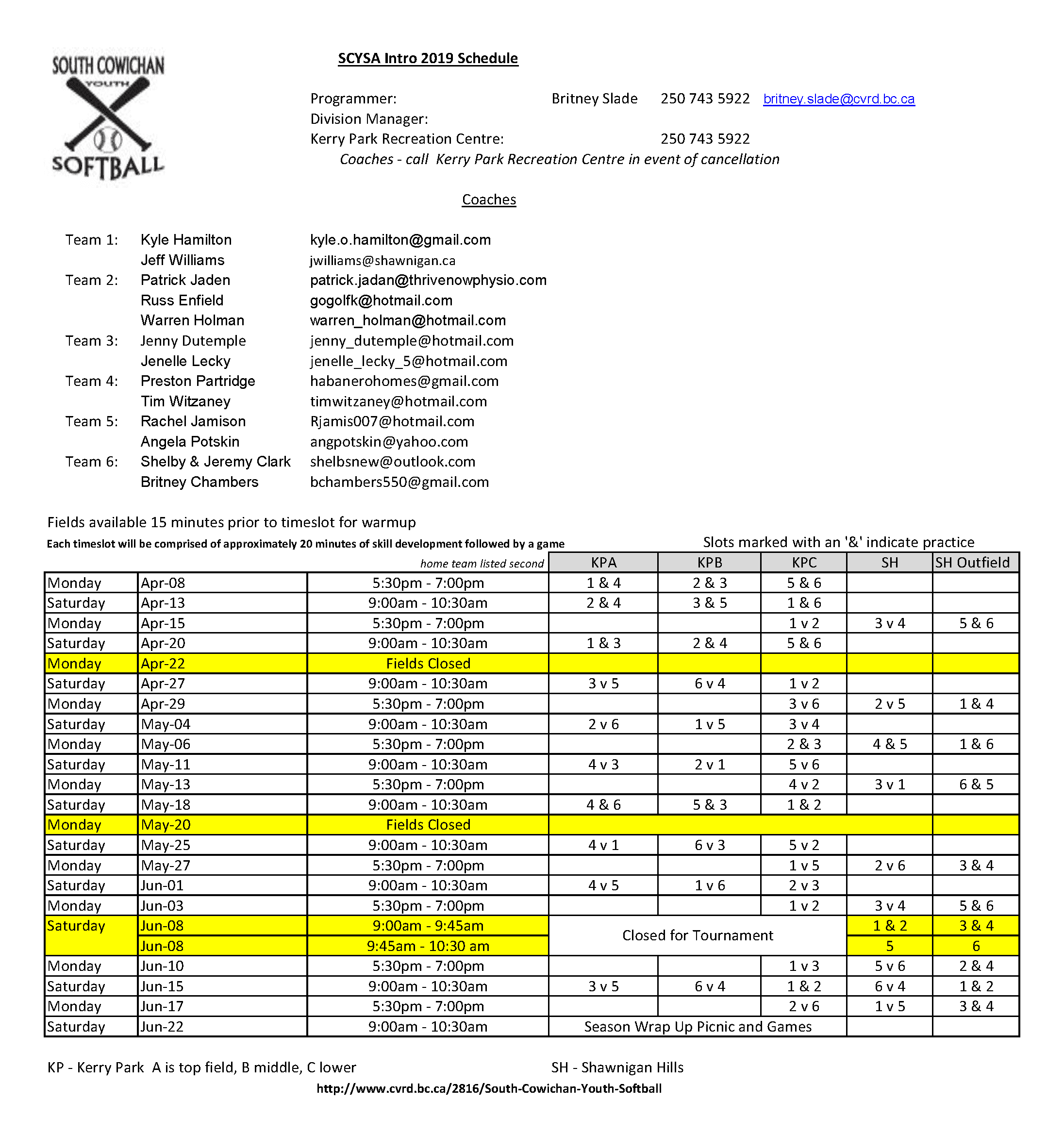 Intro 2019 Schedules
