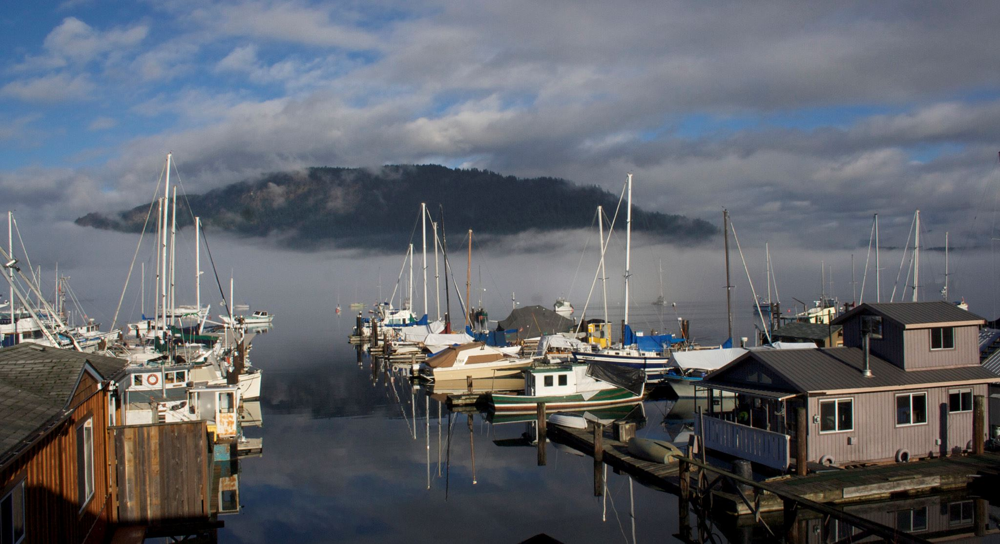 Fog rolled in over marina.